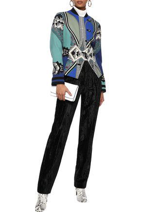 Etro Woman Printed Wool-blend Jacket Cobalt Blue