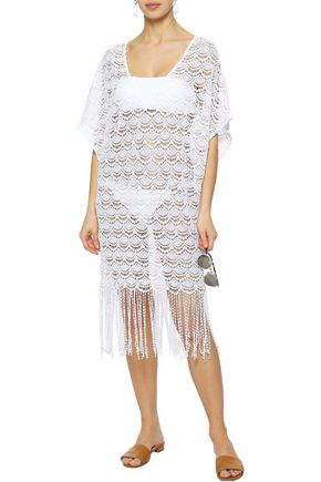 Eberjey Woman Fringed Crocheted Cotton Coverup White