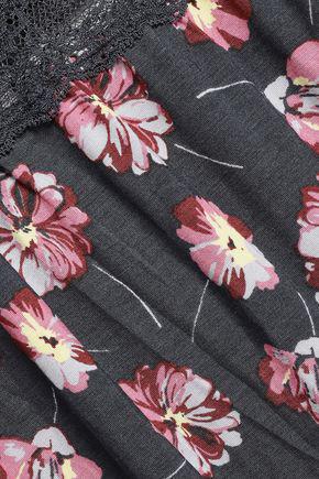 Eberjey Woman Veranda Chantilly Lace-trimmed Floral-print Stretch-modal Camisole Dark Gray