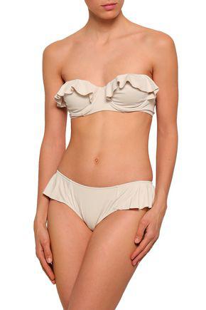 Eberjey Woman Pearl Ruffled Bandeau Bikini Top Beige