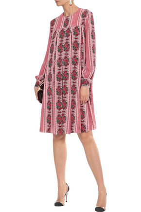 Emilia Wickstead Woman Emilo Pleated Floral-print Crepe De Chine Dress Bubblegum