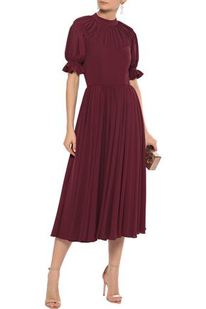 Emilia Wickstead Woman Philly Gathered Stretch-crepe Midi Dress Burgundy
