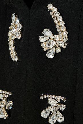 Emilio Pucci Woman Crystal-embellished Silk Crepe De Chine Blouse Black