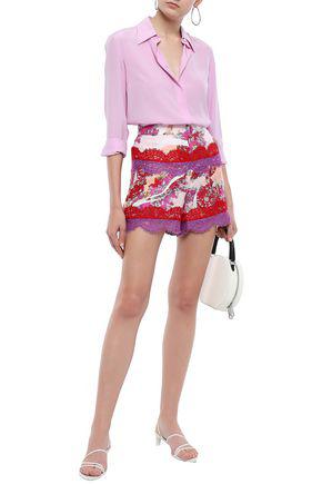 Emilio Pucci Lace-trimmed Floral-print Silk-twill Shorts In Peach