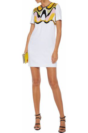 Emilio Pucci Sequined Mesh-paneled Cady Mini Dress In White