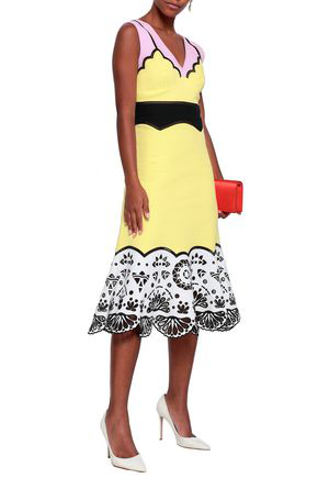 Emilio Pucci Woman Color-block Broderie Anglaise-paneled Cotton Midi Dress Pastel Yellow
