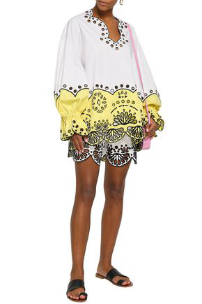 Emilio Pucci Woman Two-Tone Broderie Anglaise Cotton Blouse White