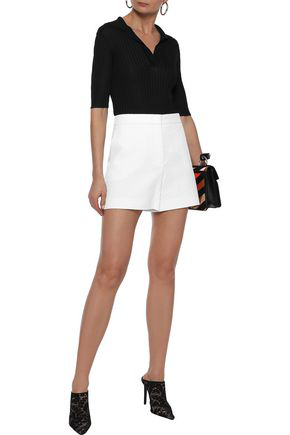 Emilio Pucci Woman Embroidered Ribbed-knit Top Black