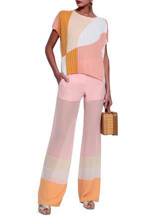 Emilio Pucci Woman Color-block Silk-chiffon Wide-leg Pants Baby Pink