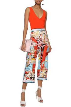 Emilio Pucci Woman Cropped Perforated Printed Silk-twill Wide-leg Pants Multicolor