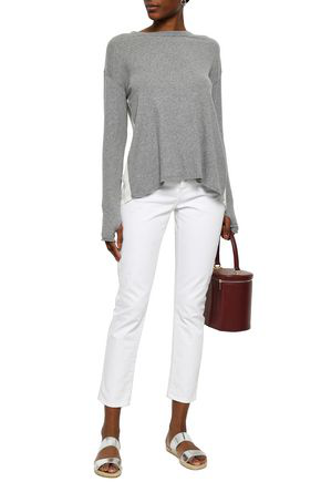 Enza Costa Woman Paneled Cotton And Cashmere-blend Top Gray