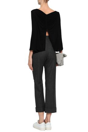 Enza Costa Woman Split-back Stretch-knit Top Black