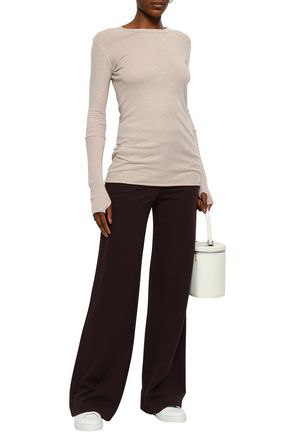 Enza Costa Woman Rib-paneled Cotton And Cashmere-blend Top Blush