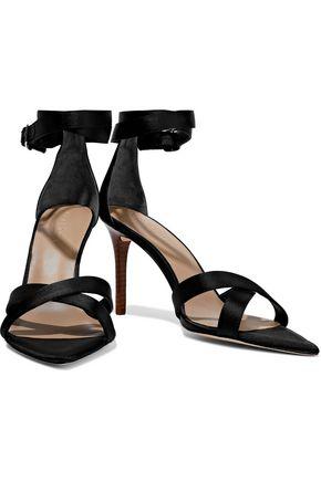 Halston Heritage Lillian Metallic Textured-leather Sandals In Black