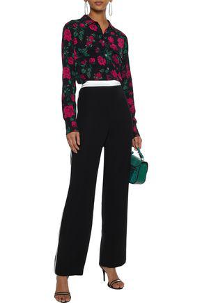 Equipment Woman Slim Signature Floral-print Washed Crepe De Chine Shirt Black
