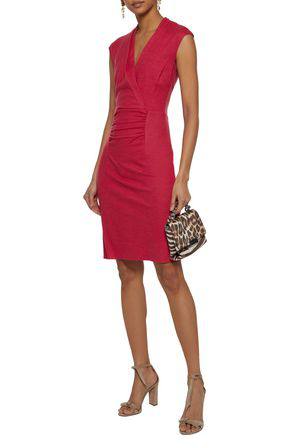 Halston Heritage Halston Woman Wrap-effect Ruched Wool Dress Crimson