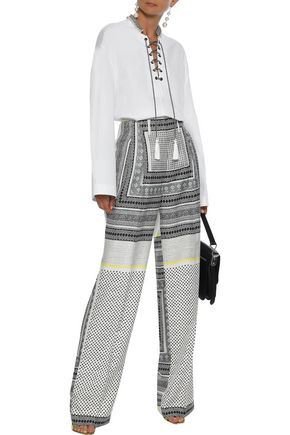 Etro Woman Printed Silk-twill Wide-leg Pants Multicolor