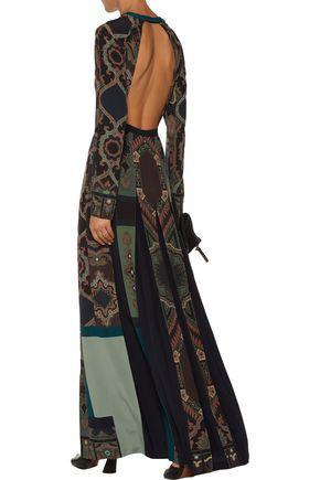 Etro Woman Open-back Pleated Printed Silk Crepe De Chine Maxi Dress Multicolor