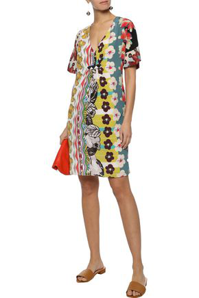 Etro Woman Pleated Printed Silk Crepe De Chine Mini Dress Multicolor