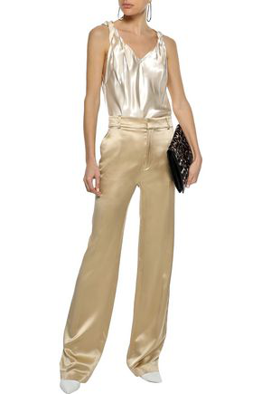 Helmut Lang Woman Twisted Knotted Satin-twill Camisole Ecru