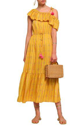 Figue Woman Miguelina One-shoulder Printed Silk-gauze Midi Dress Saffron