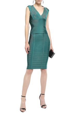 Herve Leger Aria Cutout Bandage Top In Teal