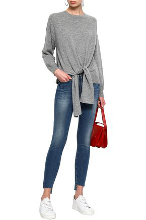 Frame Tie-front MÉlange Wool And Cashmere-blend Sweater In Gray