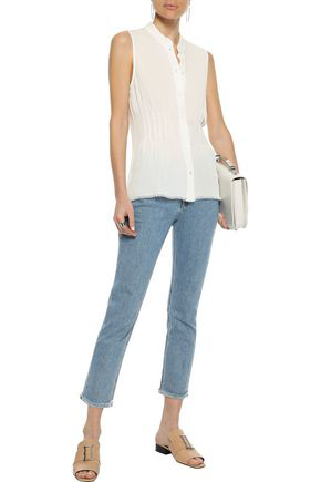 Frame Woman Smocked Silk Crepe De Chine Top Off-white