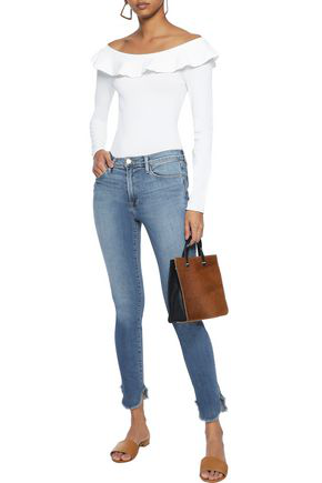 Frame Woman Le High Cropped High-rise Skinny Jeans Mid Denim