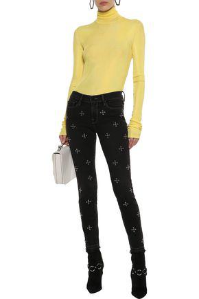 Frame Woman Le Skinny De Jeanne Studded Mid-rise Skinny Jeans Black