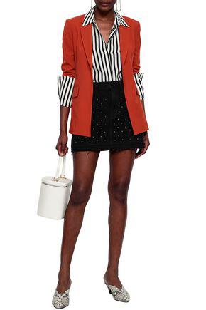 Frame Woman Crystal-embellished Denim Mini Skirt Black