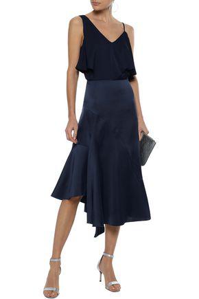 Iris & Ink Woman Maisy Asymmetric Satin-crepe Midi Skirt Midnight Blue
