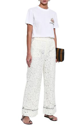 Ganni Jerome Corded Lace Wide-leg Pants In Ivory