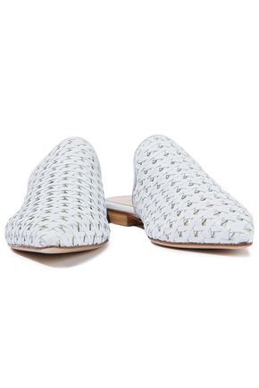Iris & Ink Woman Avery Woven Leather Slippers White