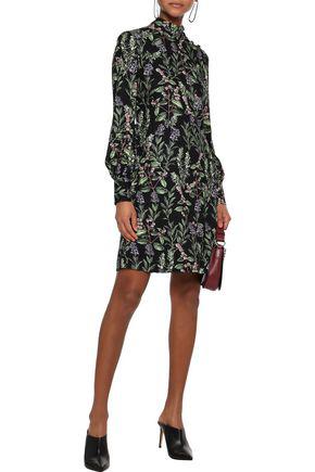 Goat Woman Garland Button-detailed Silk Crepe De Chine Mini Dress Dark Green