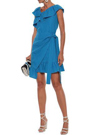 Goen J Goen.j Woman Wrap-effect Ruffled Linen Mini Dress Azure