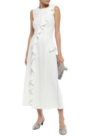 Goen J Goen.j Woman Ruffled Crepe Midi Dress Ivory