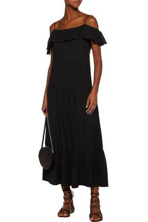 Iro Juliet Cold-shoulder Ruffle-trimmed Gauze Maxi Dress In Black
