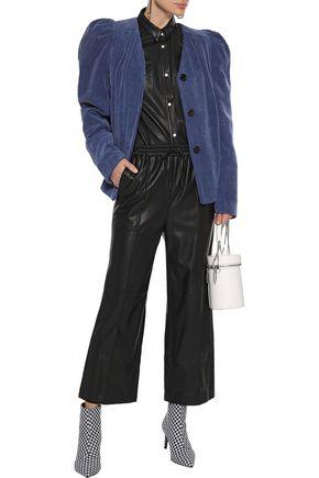 Goen J Goen.j Woman Cropped Faux Leather Wide-leg Pants Black