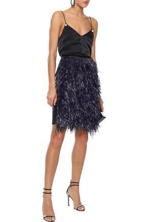 Goen J Goen.j Woman Fringed Wool And Cashmere-blend Mini Skirt Midnight Blue