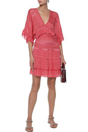 Iro Woman Stacy Shirred Embroidered Georgette Mini Dress Papaya