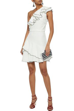 Halston Heritage Woman One-shoulder Ruffled Cloqué Mini Dress Ivory