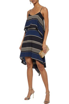 Halston Heritage Woman Layered Striped Crepe Mini Dress Black