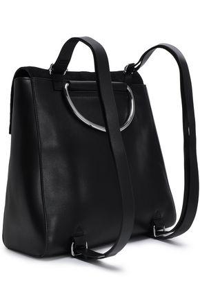 Halston Heritage Suede-trimmed Leather Backpack In Black