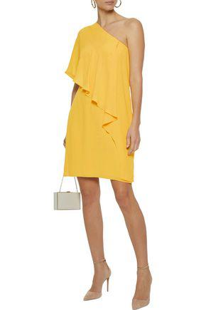 Halston Heritage Woman One-shoulder Ruffled Crepe De Chine Dress Yellow