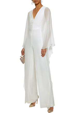 Halston Heritage Woman Draped Chiffon Jumpsuit White