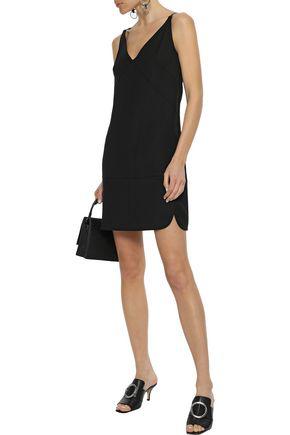 Helmut Lang Studded Faux Leather-trimmed Ponte Mini Slip Dress In Black