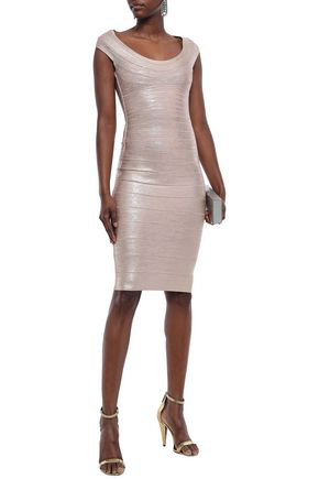 Herve Leger Metallic Coated Bandage Dress In Rose Gold