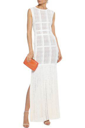Herve Leger HervÉ LÉger Woman Fringed Ribbed-knit Maxi Dress Off-white