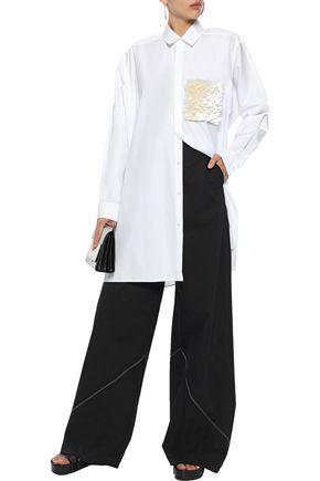 Jil Sander Woman Fringe-paneled Cotton-poplin Tunic White